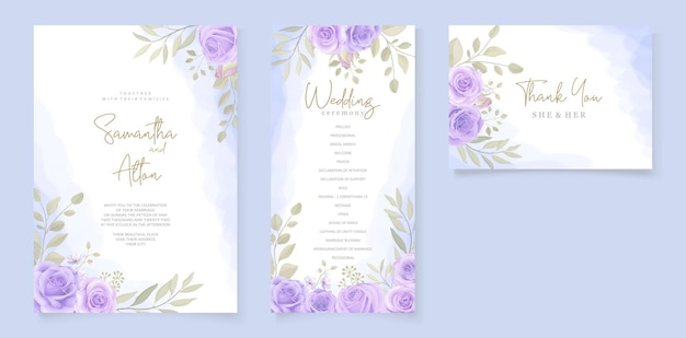 Modelo de convite de casamento elegante com roxo floral