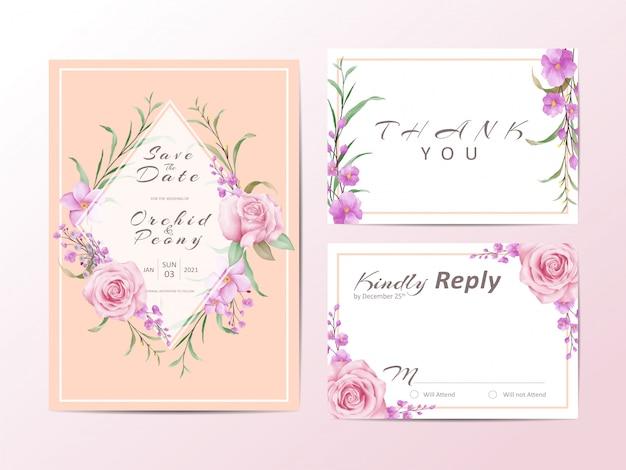 Modelo de convite de casamento elegante conjunto com rosas e folhas selvagens