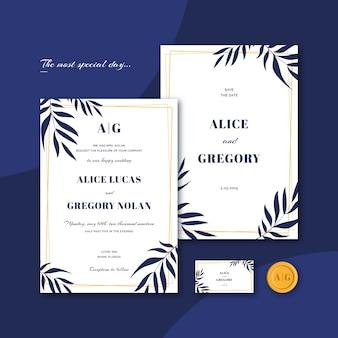 Modelo de convite de casamento elegante de folhas azuis