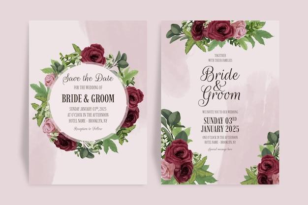 Modelo de convite de casamento elegante definido com estilo aquarela.