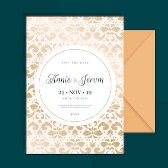 Modelo de convite de casamento elegante do damasco