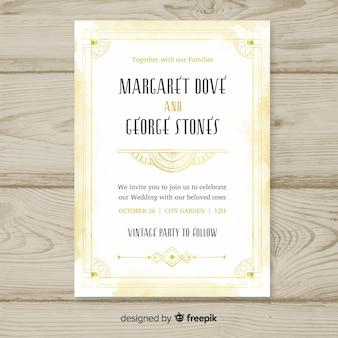 Modelo de convite de casamento elegante em estilo art deco