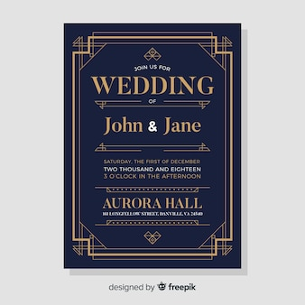 Modelo de convite de casamento elegante escuro em estilo art deco