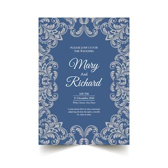 Modelo de convite de casamento elegante estilo damasco