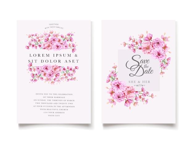Modelo de convite de casamento elegante flor de cerejeira