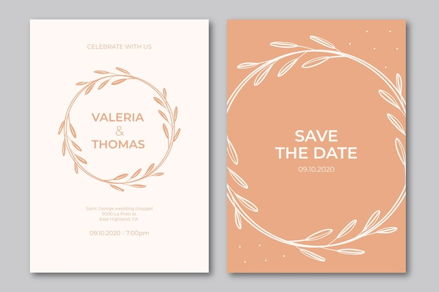 Modelo de convite de casamento elegante folhas pequenas