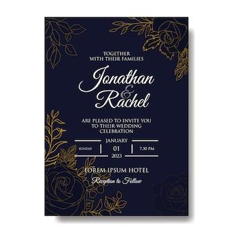 Modelo de convite de casamento elegante mão desenhada