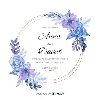 Modelo de convite de casamento elegante moldura floral aquarela