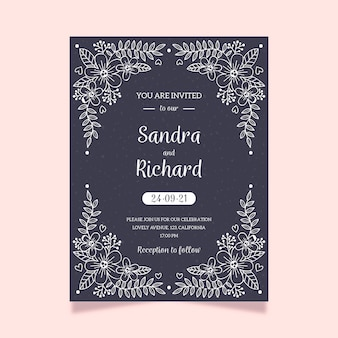 Modelo de convite de casamento elegante no quadro-negro