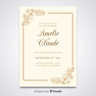 Modelo de convite de casamento elegante