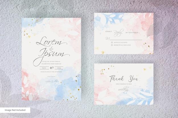Modelo de convite de casamento em aquarela com design floral plano e aquarela líquida pintada à mão
