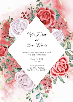 Modelo de convite de casamento em aquarela elegante boho noivado rosa
