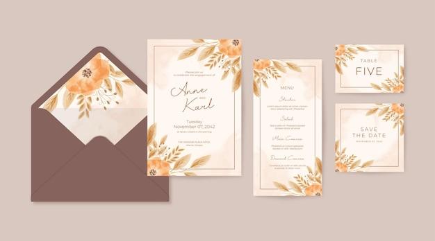 Modelo de convite de casamento em aquarela floral boho