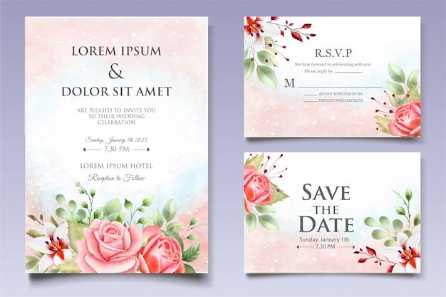 Modelo de convite de casamento em aquarela floral e folhas