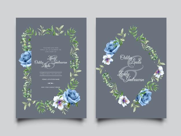 Modelo de convite de casamento em aquarela floral elegante com lindas rosas azuis