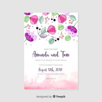 Modelo de convite de casamento em aquarela