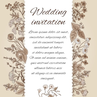 Modelo de convite de casamento em estilo vintage. há lugar para texto. decoração de convite de ervas de mão desenhada e flores diferentes em um tom sépia