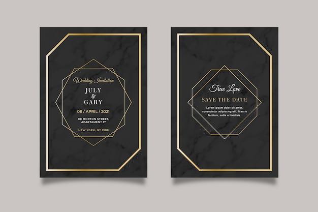 Modelo de convite de casamento em mármore elegante com detalhes dourados