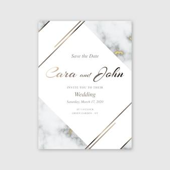 Modelo de convite de casamento em mármore elegante