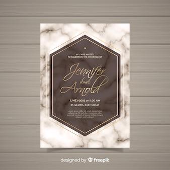 Modelo de convite de casamento em mármore