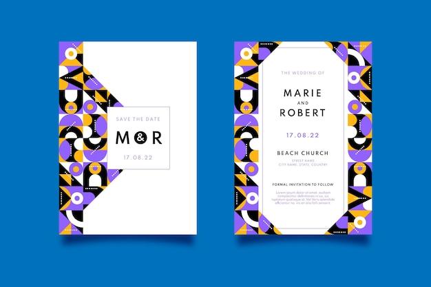 Modelo de convite de casamento em mosaico plano
