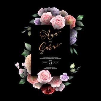 Modelo de convite de casamento escuro com folhas florais em aquarela