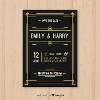 Modelo de convite de casamento escuro vintage em design art deco