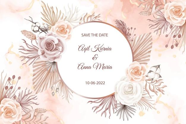 Modelo de convite de casamento estilo boho rosa moderno
