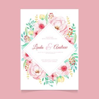 Modelo de convite de casamento floral aquarela bonita