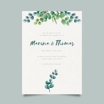 Modelo de convite de casamento floral aquarela