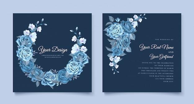 Modelo de convite de casamento floral azul clássico