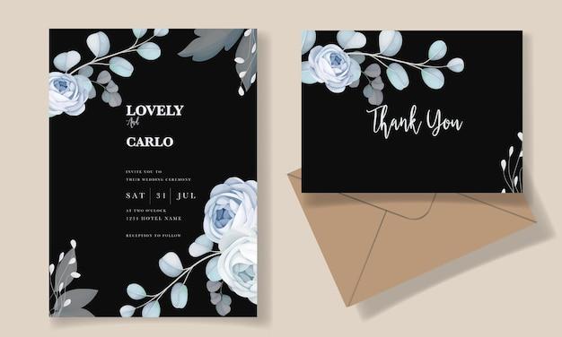Modelo de convite de casamento floral azul elegante