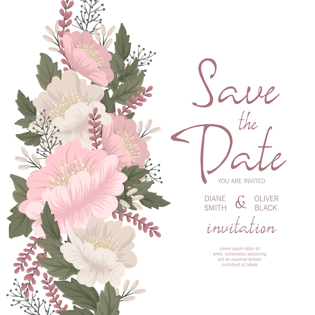Modelo de convite de casamento floral - cartão floral rosa