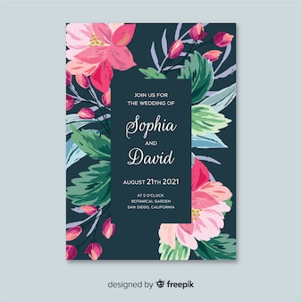 Modelo de convite de casamento floral colorido pintado à mão