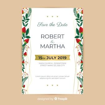 Modelo de convite de casamento floral colorido