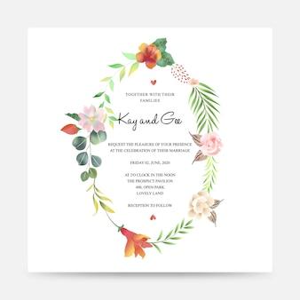 Modelo de convite de casamento floral com decoração de buquê de flores