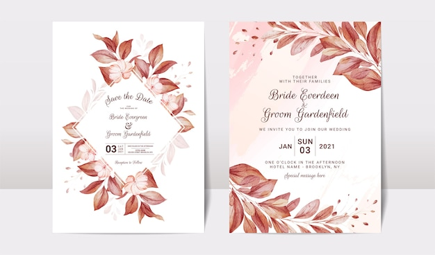Modelo de convite de casamento floral com decoração de flores e folhas de rosas marrons e pêssego.