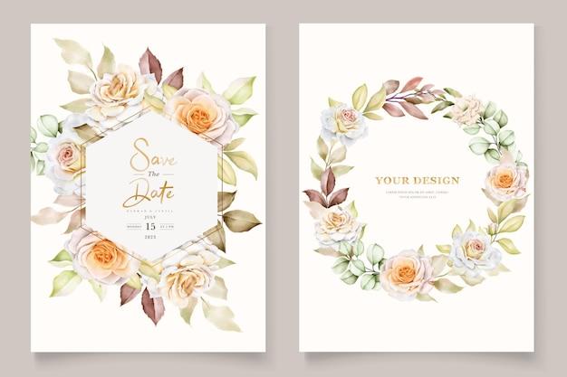 Modelo de convite de casamento floral com elegantes folhas marrons Vetor Premium