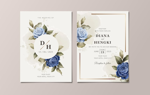 Modelo de convite de casamento floral com elegantes rosas e folhas azuis marinho