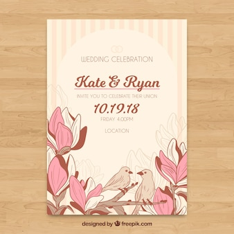 Modelo de convite de casamento floral com estilo vintage