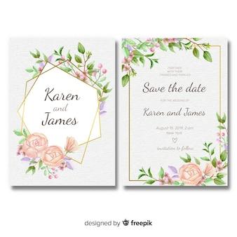 Modelo de convite de casamento floral com moldura dourada