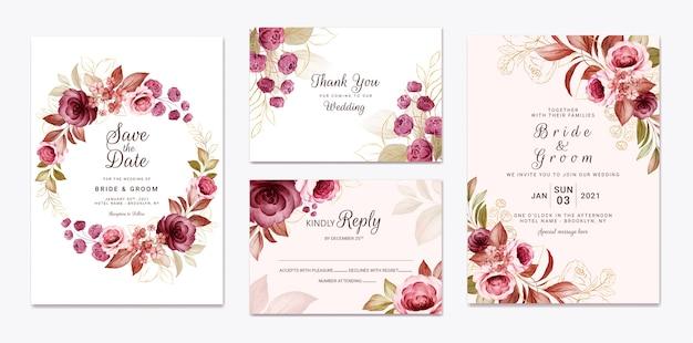 Modelo de convite de casamento floral cravejado de decoração de flores e folhas de ouro cor de vinho e rosas marrons. conceito de design de cartão botânico