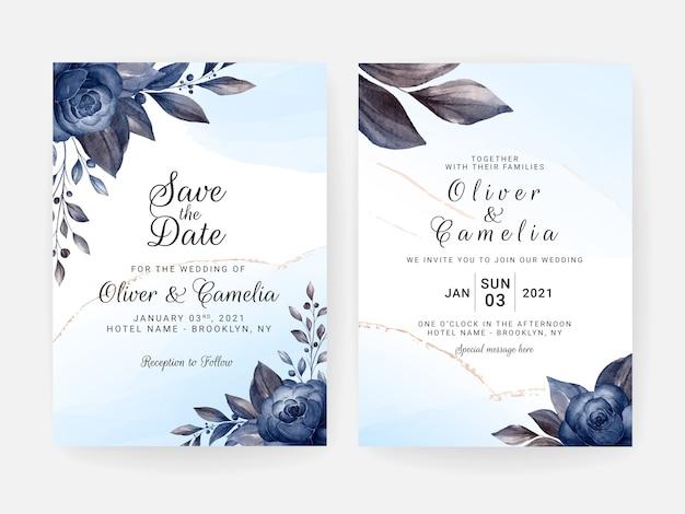 Modelo de convite de casamento floral cravejado de flores azuis e decoração de folhas. conceito de design de cartão botânico
