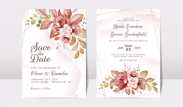 Modelo de convite de casamento floral cravejado de flores rosas e decoração de folhas. conceito de design de cartão botânico