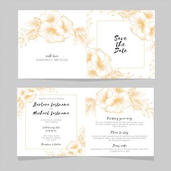 Modelo de convite de casamento floral de hibisco dourado