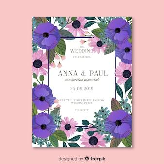 Modelo de convite de casamento floral de pintados à mão