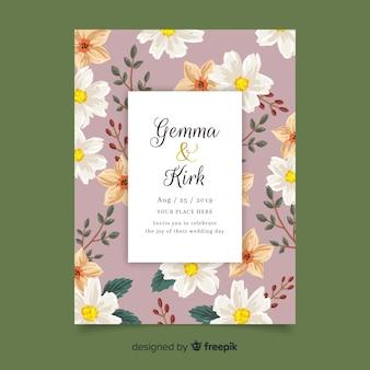 Modelo de convite de casamento floral desabrochando