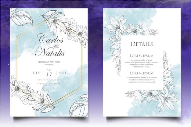 Modelo de convite de casamento floral desenhado à mão elegante