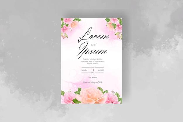Modelo de convite de casamento floral desenhado à mão em aquarela