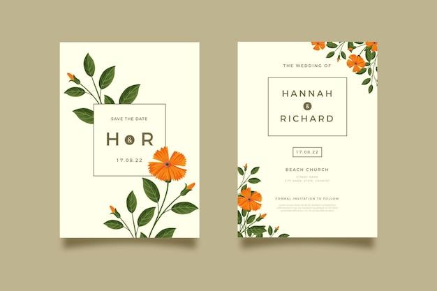 Modelo de convite de casamento floral desenhado à mão